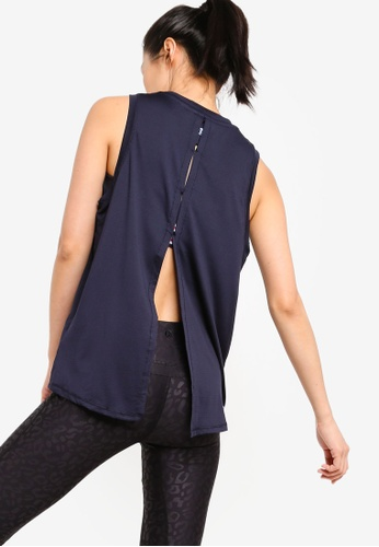Cotton On Body navy Split Back Tank Top BDF81AA443ABD5GS_1