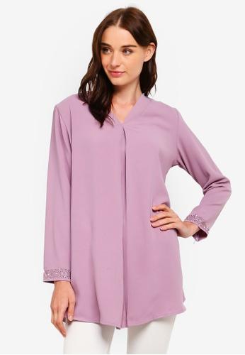 BYN purple V Neck Long Sleeve Beaded Top 9654EAA5779997GS_1