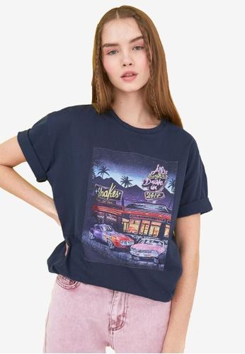 Trendyol navy Graphic Print Boyfriend T-Shirt 893C8AA6B820A3GS_1