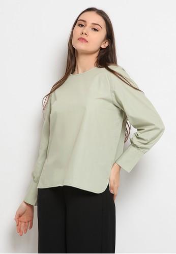 et cetera green Puff Sleeve Blouse DE31CAAD01EC15GS_1