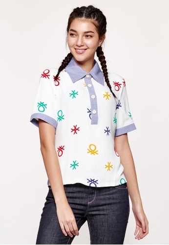 United Colors of Benetton white Logo Printed Polo Shirt 3464AAACA2A326GS_1