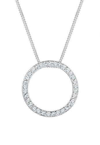 Elli Germany white 925 Sterling Silver Circle Swarovski® Crystal Necklace EL474AC75GOMMY_1