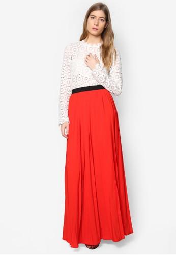 Leesprit hong kong 分店sley 蕾絲鉤花拼接長洋裝, 服飾, 洋裝