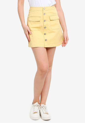 Hopeshow yellow Button Fly Denim Mini Skirt 61CDBAA6651E10GS_1