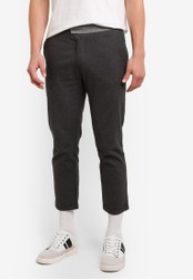 ZALORA grey REGULAR FIT TURN UP TROUSERS WITH CONTRAST WAISTBAND CA070AA531DD10GS_1