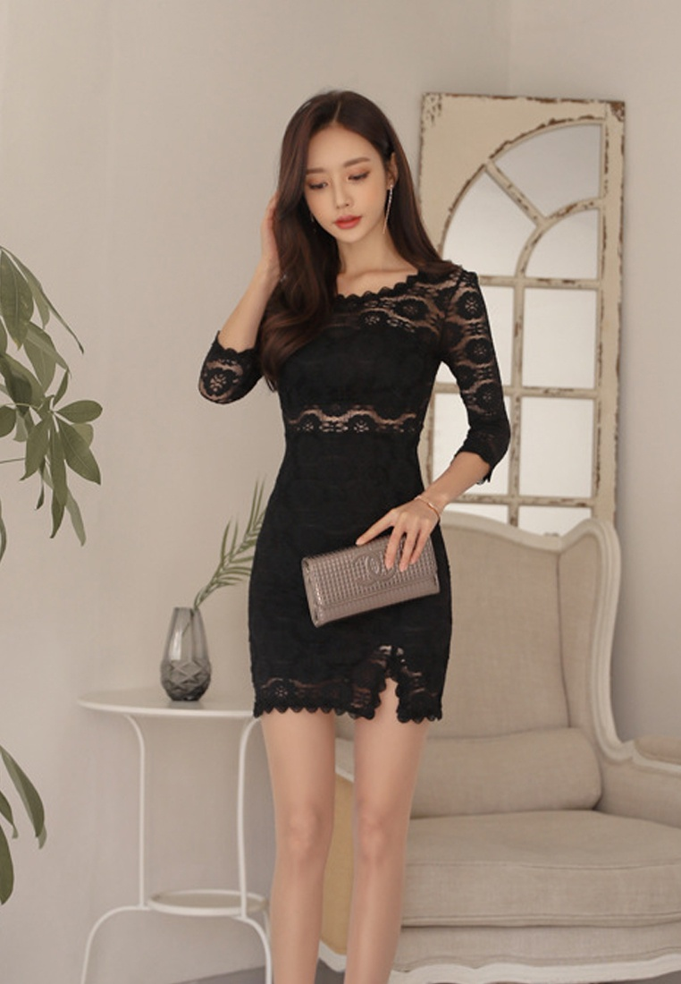 Piece Through One New Black Black 2018 Lace Sunnydaysweety CA011723 See IwxvBYx7q