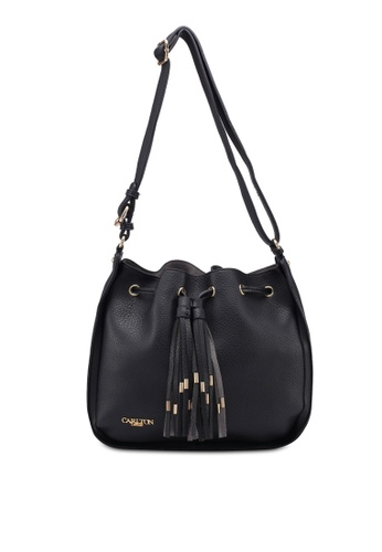 Carlton London black Bucket Bag With Tassel 12217AC7345CCAGS_1
