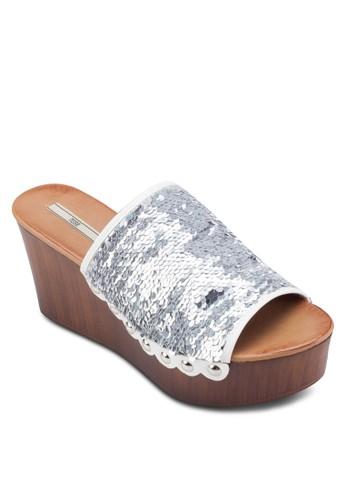 閃esprit outlet 高雄飾寬帶楔型涼鞋, 女鞋, 鞋
