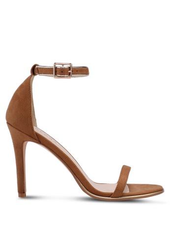 ZALORA 褐色 一字帶麂皮高跟鞋 5E429SH7D709C4GS_1