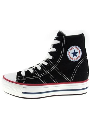 Maxstar 黑色 新款韩国鞋C7-5cm時尚帆布布混合女黑色 US Women Size MA345SH84HFJTW_1