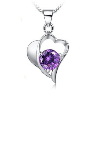 LYCKA purple and silver LPP88153 S925 Silver Necklace EB8DAACE667212GS_1