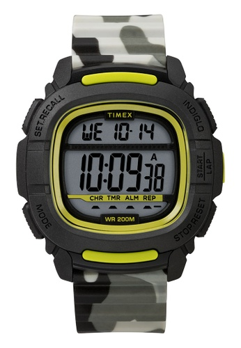 Timex black and grey and green and multi Timex Command™ 47mm - Black Case, Camo Silicone Strap (TW5M26600) 55DD9AC3187D17GS_1