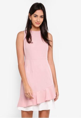 ZALORA white and pink Layered Ruffles Dress 6E0EDAA87B1FAEGS_1