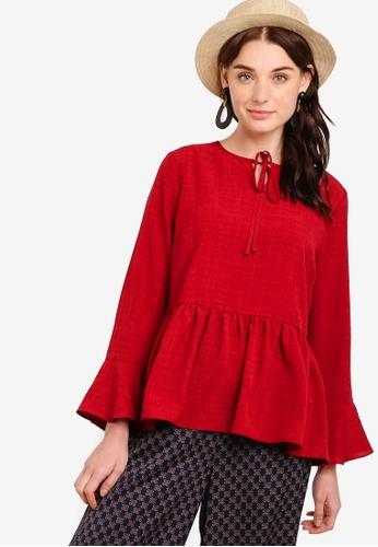 Zalia red Loose Peasant Top E4907AA3D3B545GS_1