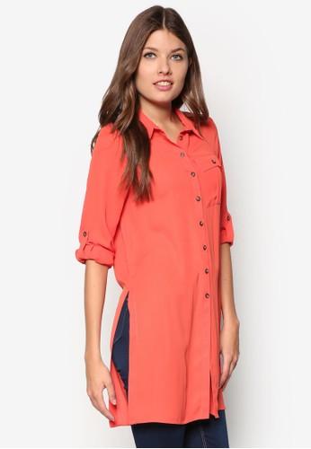 Petite 側開叉長版長袖襯衫, 服飾zalora taiwan 時尚購物網, 服飾