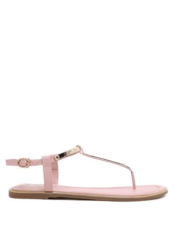 Twenty Eight Shoes 粉紅色 and 金色 性感夾趾平底涼鞋 VS8858 BB1FBSH6296FE2GS_1