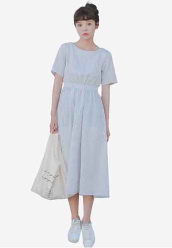 Shopsfashion blue Open Back Fit And Flare Dress 4B4DBAA82F48ADGS_1