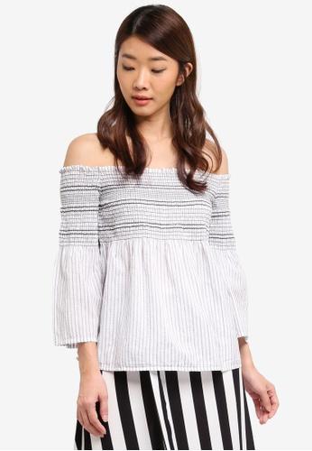 Dorothy Perkins white White Stripe Shirred Bardot Top 24429AA2B844A1GS_1