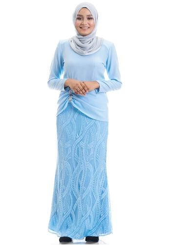 Ashura blue Fiorella Kurung With Ruched 01E56AAC706A40GS_1
