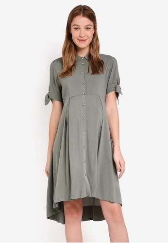 147042016ad20 Pietro Brunelli Milano green Girasole Maternity Shirt Dress  E2E0EAAEEDD344GS_1