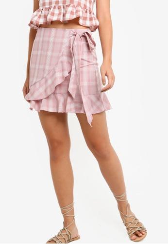 1ff63c902d Something Borrowed pink Ruffles Hem Wrap Mini Skirt 6E988AABFA91BFGS_1