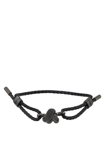 agnès b. black Black Malt Leather Bracelet BCACDACD00D66DGS_1