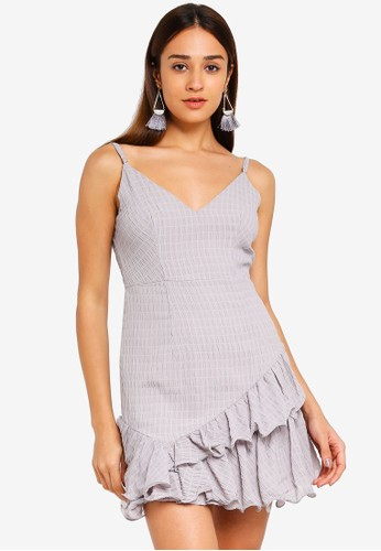 INDIKAH grey Textured Asymmetrical Ruffle Hem Dress 0EE3FAAB7F60DFGS_1