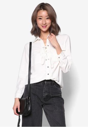繫帶長袖襯衫, 服飾esprit台灣outlet, 上衣