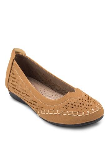 雕花仿麂esprit 品牌皮娃娃鞋, 女鞋, 芭蕾平底鞋