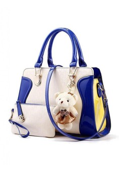 New Style Shoulder Bag with Bear and Pouch(KL16001 DRK/BL)