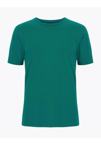 MARKS & SPENCER green M&S Cotton Crew Neck T-Shirt D2D78AA9BE6490GS_1