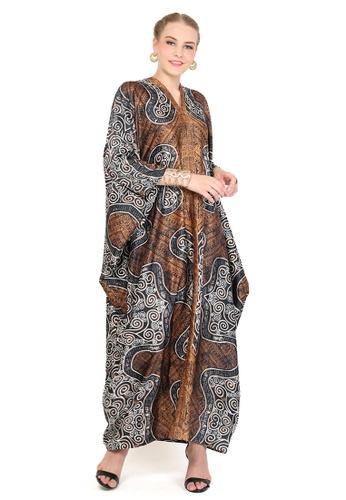 Kanzi by liza yahya brown Kanzi Exclusive Long Sleeve Batik Kaftan 66D6EAAF5B2CB2GS_1