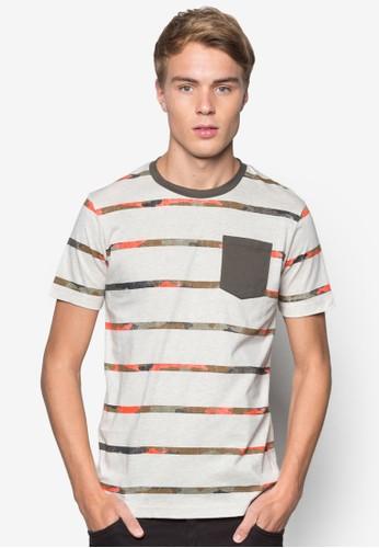 esprit tw印花條紋口袋TEE, 服飾, 條紋T恤