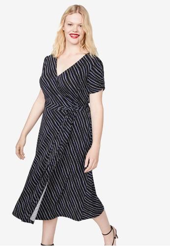 Violeta by MANGO 藍色 Plus Size Print Wrap Dress 65066AA9B6B08EGS_1
