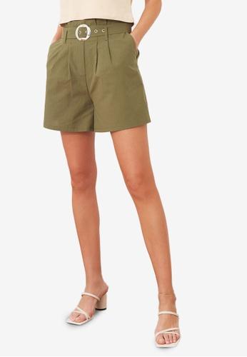 Trendyol 綠色 經典腰帶短褲 75E8DAA098E330GS_1