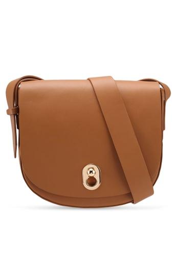 ZALORA brown Lock Flap Sling Bag 5DD9FACAFCEB92GS_1