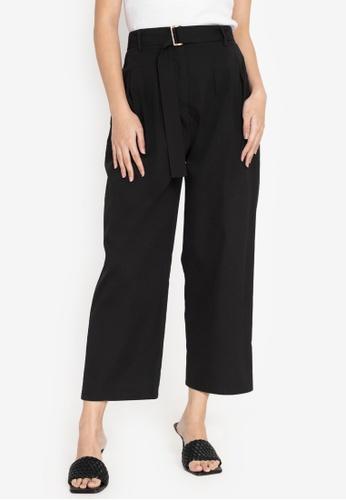 ZALORA WORK black Belted Pleated Pants 4D927AA34841B2GS_1