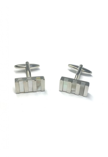 Splice Cufflinks silver Pearl White Columns Rectangular Cufflinks   SP744AC21DNESG_1