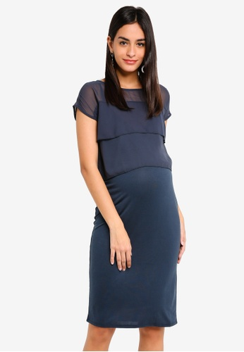 Noppies navy Maternity Daisy Short Sleeve Dress 8C5FFAA465CB3BGS_1