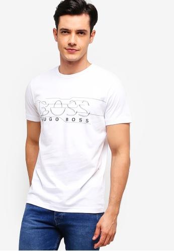 BOSS 白色 LOGO印花T恤 C9D9FAA3F9ED05GS_1