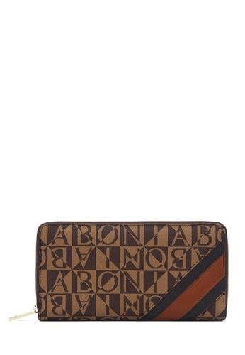 BONIA brown Bonia Brown Monogram Zipper Wallet 1CD05AC71CBE85GS_1