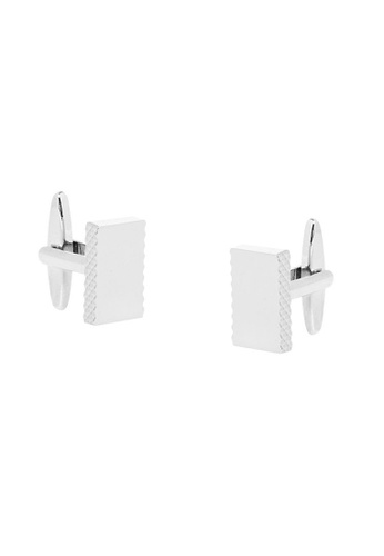 Buckle silver Rectangle Nickel Polished Edge Detail Cufflinks F32FEAC1CA3F70GS_1