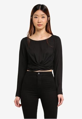 Miss Selfridge black Black Long Sleeve Twist Front Top 88BDAAA5FFC845GS_1