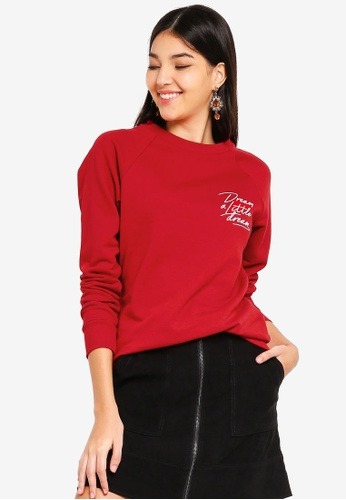 WAREHOUSE red Dream A Little Dream Sweatshirt 0BF63AA892090FGS_1