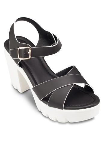 交叉帶繞踝粗跟涼鞋, 女鞋, 厚底esprit 高雄鞋