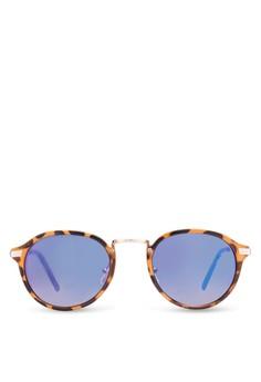 【ZALORA】 Casper 橘色/藍色 Revo Round 太陽眼鏡