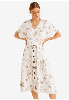 8384c7c51b2d5 Mango beige Floral Pattern Midi Dress DCD7DAA54EDA58GS_1