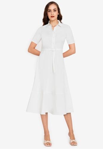 ZALORA WORK white Pleated Midi Shirt Dress 5BF84AA7FA52FBGS_1