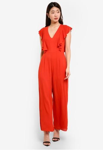 ZALORA orange Front Ruffle Jumpsuit 96742AA5C1BB66GS_1
