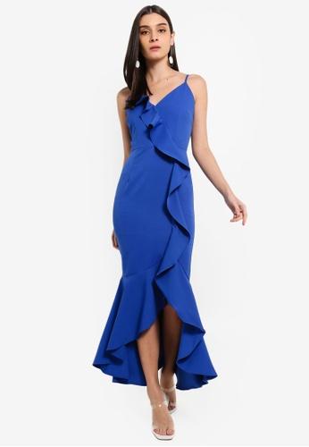 Preen & Proper blue Cascade Ruffle Maxi Dress 04C9FAA434DA51GS_1